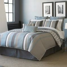 Image detail for -Comforting shades of blue, ivory and gray give this bedding a soft ...