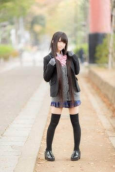 *Closet cosplay connoisseur* The best of: Cosplay. Zettai Ryouiki DISCLAIMER: I own none of the photos - links to the original works are provided in each post. Asian Cute, Cute Asian Girls, Beautiful Asian Girls, Cute Girls, School Uniform Fashion, School Uniform Girls, Girls Uniforms, Korean Uniform School, All Girls School