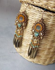 I like this southwestern vibe. bead embroidery earrings by Angie Mézes beaded earrings country jewelry birthday gift idea I like this southwestern vibe. bead embroidery earrings by Angie Mézes beaded earrings country jewelry birthday gift idea Beaded Earrings Patterns, Seed Bead Earrings, Seed Bead Jewelry, Women's Earrings, Earrings Online, Bead Patterns, Metal Jewelry, Diy Bead Embroidery, Flower Embroidery