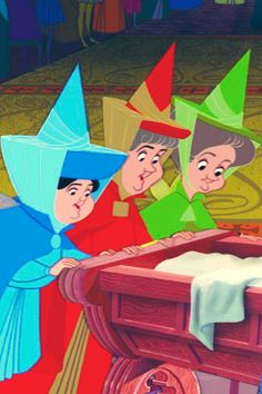 Flora, Fauna, and Merryweather Old Disney, Disney Girls, Disney Love, Disney Magic, Disney Art, Sleeping Beauty Maleficent, Disney Sleeping Beauty, Disney Sidekicks, Disney Characters
