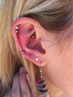 #piercing ; 2 lobe, snug, rook, 2 helix #piercings