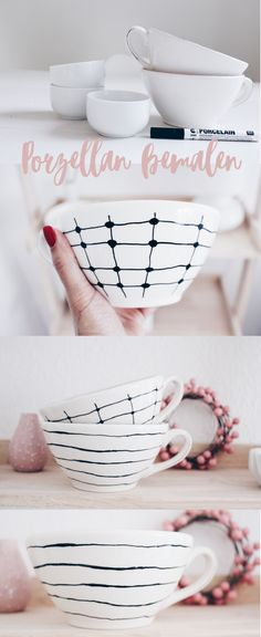Porzellan bemalen Paint DIY cups of porcelain. In this DIY guide, I'll show you how to quickly and easily make gifts / Christmas gifts yourself. Pottery Painting, Ceramic Painting, Diy Painting, Pottery Art, Painted Ceramic Plates, Ceramic Bowls, Painted Porcelain, Art Café, Homemade Gifts