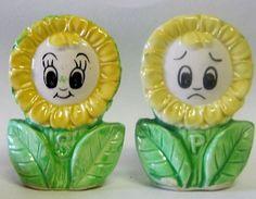 Vintage Anthropomorphic Sunflower Girls Salt Pepper Shakers | eBay
