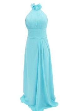 Dressystar Halter Long Blue Bridesmaid Dresses