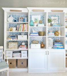DIY ikea bookcase hack with added spots using pieces of kitchen sponge, from the amazing Kate@centsational girl!
