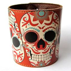 Leather cuff/ wallet wristband - Sugar skull tattoo design