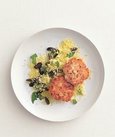 Salmon cakes!  I leave out the olives because I love my husband, but these cakes are easy and good.