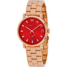 Marc Jacobs Watches Women's Baker Watch - Red - Women's Watches ($200) ❤ liked on Polyvore featuring jewelry, watches, red, quartz movement watches, red dial watches, stainless steel wrist watch, stainless steel jewellery and water resistant watches