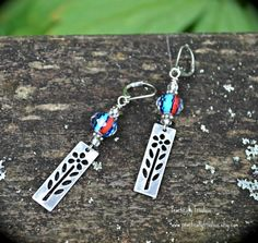 Silver Flower Earrings With Red and Blue by practicallyfrivolous