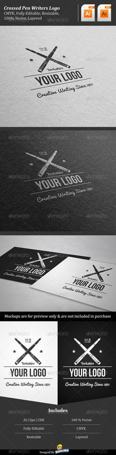 Crossed Pen Writers  - Logo Design Template Vector #logotype Download it here: http://graphicriver.net/item/crossed-pen-writers-logo/5338791?s_rank=619?ref=nexion