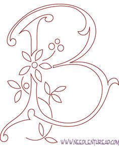 Monogram for Hand Embroidery: The Letter B