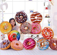 "15.7"" stuffed short plush O-shaped Sweets food Donuts neck pillow Cushions nap doll Home essential, Fast-paced world"