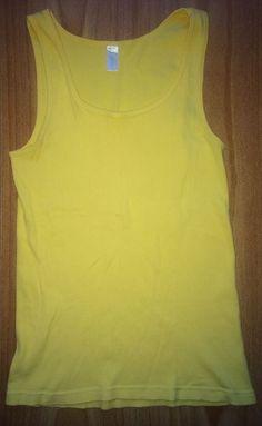 J.Crew L 100% Cotton Ribbed Knit Tank, Cami Top Solid Yellow Sleeveless #JCrew #TankCami #Casual