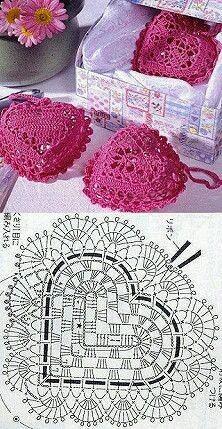 DIY handmade: how to make a crochet heart? - 12 patterns and designs - paper art DIY handmade: how to make a crochet heart? – 12 patterns and designs – # Hä Filet Crochet, Crochet Motifs, Crochet Diagram, Crochet Chart, Crochet Squares, Thread Crochet, Crochet Stitches, Crochet Doilies, Crochet Patterns