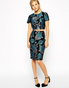 Image 1 of ASOS co-ord Pencil Skirt in Floral Jacquard