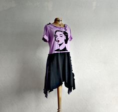Purple Black Cowl Neck Dress Modern Mod by BrokenGhostClothing, $82.00
