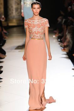 27f936d94f Aliexpress.com   Buy 2014 Elie Saab Couture Peach Chiffon Short Sleeve  Gorgeous Beads Modest