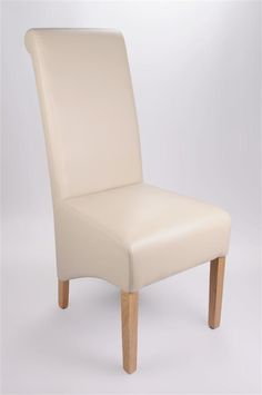 Rollback All Leather Dining Chair in Ivory