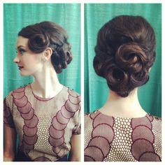 Vintage Hair Updo. 1950s. Pin curls.