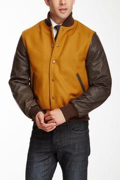 Slater & Son Old Gold Wool Blend Leather Sleeve Varsity Jacket by Slater & Sons on @nordstrom_rack