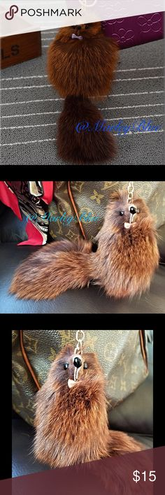 Adorable Furry Friend Keychain Genuine Fox Fur Dark Brown with a reddish tint. Color closet to 1st pic.Super Cute! Genuine fox fur. Gold hardware. Has lobster claw clasp as well as key ring.  Perfect for handbag, keys, or backpack. Approximately 7.5 inches long not including chain. Chain is about 4 inches long.  Width of body is approximately 3 inches across. There may be slight variations from item to item due to the nature of natural fur. Price is firm unless bundled. Save 20% off when…