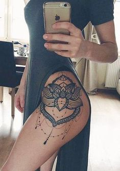 Lace Lotus Flower Mandala Chandelier Hip Tattoo Placement Ideas for Women - Black Henna Leg Side Tat - MyBodiArt.com