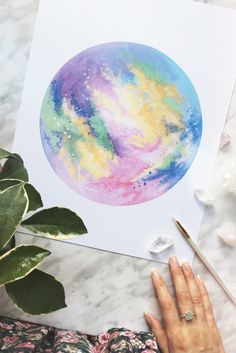 Dreaming of this sherbert-colored moon rainbow painting, moon painting, watercolor moon, Watercolor Moon, Watercolor Print, Watercolor Paintings, Watercolors, Rainbow Painting, Moon Painting, Moon Rainbow, Elephant Illustration, Art Therapy Activities