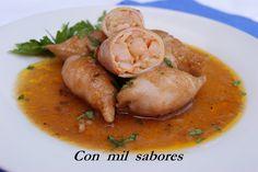 Con mil sabores: CHIPIRONES RELLENOS DE MARISCO Seafood Recipes, Thai Red Curry, Salad Recipes, Shrimp, Chicken, Cooking, Ethnic Recipes, Sea Food, Gastronomia