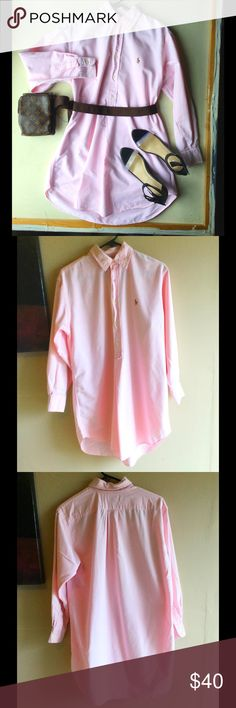 Ralph & Lauren Dress Blouse Size a Small Put a belt on this and you will look super cute. Beautiful shade of pink. Great for the spring or people living in warmer climates. This trend will be sooooo hot for 2017. Lauren Ralph Lauren Dresses Long Sleeve