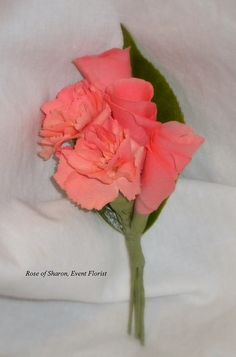 Coral mini-carnations & rose 'bud' boutonniere