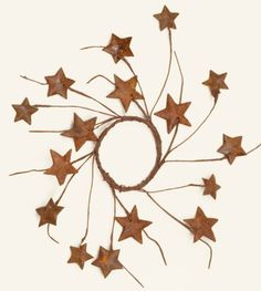 Rusty Metal Star Candle Ring
