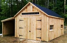 14x20 One Bay Garage. Example shows optional partially enclosed 8x20 overhang + double doors vs overhead door. Available as a Kit - 2 people 30 hours + Plans $39.95. Kits ship *Free in the continental US + eastern Canada. http://jamaicacottageshop.com/shop/one-bay-garage/ http://cdn.jamaicacottageshop.com/wp-content/uploads/pdfs/pdf14x20onebaygarage.pdf http://jamaicacottageshop.com/free-shipping/ #garages #postandbeam #shed #sheds #barn #barns #jamaicacottageshop
