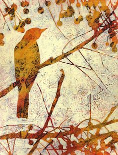 """Remember the Song Birds? #5"" by Karyn Fendley- acrylic & mixed media on canvas"
