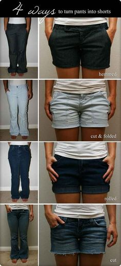 And heres how you turn pants into shorts. | 32 Creative Life Hacks Every Girl Should Know