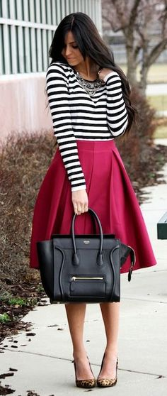 Gorgeous outfit 2015 – Mulberry skirt, leopard shoes and striped turtleneck