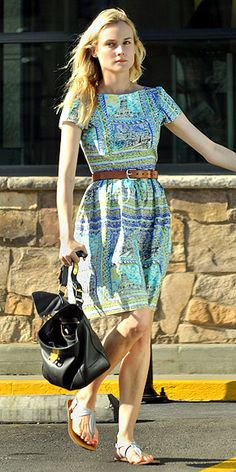 Wild prints are much more wearable on a dress with a traditional, universally flattering silhouette, like the star's boatneck, A-line frock. A belt and sandals dress down the look, but you could add pumps and statement jewelry for more impact.