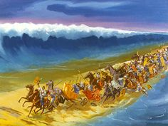 God opens a path through the Red Sea for Moses and His People to escape from the Egyptians. (Exodus 5 - 14): Free Visuals