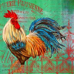 Le Rooster Heaven-b by Jean Plout - Le Rooster Heaven-b Painting - Le Rooster Heaven-b Fine Art Prints and Posters for Sale Rooster Painting, Rooster Art, Rooster Decor, Ceramic Rooster, Chicken Painting, Chicken Art, Chicken Signs, Chicken Pictures, Farm Art