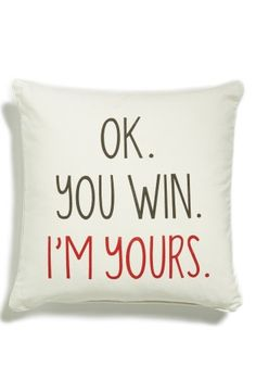 Perfect pillow for your valentine! Levtex 'OK. You Win' Accent Pillow