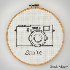 embroidery hoop art smile cross stitch featured on Link it or lump it