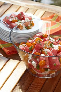 This salad recipe will transition easily into summer, as ice cold watermelon always satisfies with it's juicy bite. Mint Salad, Watermelon Salad, Bruschetta, Salad Recipes, Nom Nom, Salads, Favorite Recipes, Dishes, Cooking
