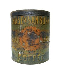 Vintage Coffee Cans   Antique Tin Coffee Can Chase & Sanborn Original Label by autena