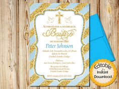Gold baptism invitation boy spanish baptism invitation baptism spanish baptism invitation boy baby blue watercolor and gold instant download editable in adobe reader diy printable 5x7 each stopboris Gallery