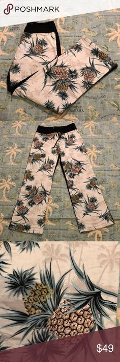 Cute Pineapple🍍 Pants Simply Adorable & Comfortable Pineapple 🍍 Pants! Size:1. I'm between a XS & S they fit me great. EUC! Color is black with pineapple & palm trees on front. Back of pants are black with 2 pineapple functional pockets. Pull on elastic waist with self tie. Has a nice weight to it. Just a great casual & Unique piece that you'll feel like your on a tropical vacay in! 100% cotton machine wash tumble dry. Dry cleaning tag still on I did dry clean instead of washing…