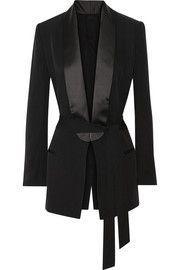 BLK DNMSatin-trimmed silk crepe de chine blazer