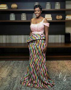 Beautiful bride Long Ankara Dresses, African Print Dresses, African Print Fashion, Ethnic Fashion, Unique Ankara Styles, Kente Styles, African Attire, African Wear, Kente Dress