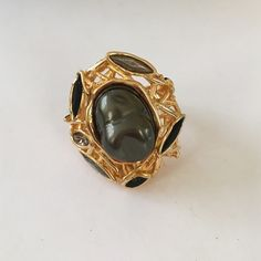 Alexis Bittar Gold Tone Gemstone Ring - Size 7 Gold tone metal ring with mixed materials including smoky Quartz stones.  Size 7.  Marked Alexis Bittar on the back. Alexis Bittar Jewelry Rings