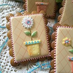 Gingerbread flowerpot flower cookies mother's 6