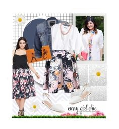 """""""Floral Skirts with Curvy Girl Chic"""" by edenslove ❤ liked on Polyvore featuring Eloquii, maurices, H&M, Best Society, Charlotte Olympia, Fornash, contestentry and PVCurvyChic"""