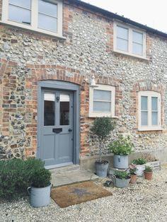 A Norfolk Staycation - Petals Paint charts Country Front Door, Cottage Front Doors, Cottage Windows, Cottage Door, Cottage Exterior, Norfolk Cottages, Front Door Design, Stone Houses, Back Doors